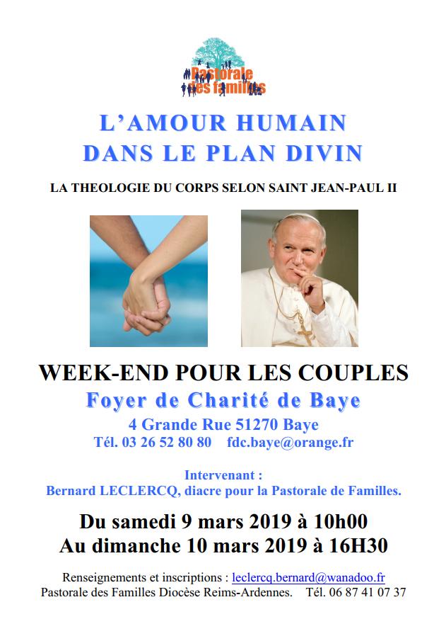 [9-10 mars] Week-end pour couples sur la théologie du corps de Jean-Paul II à Baye (51)