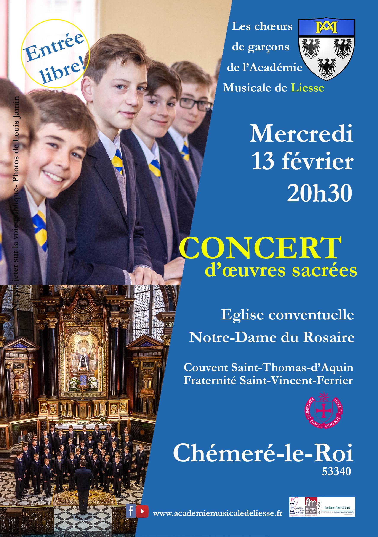 Concert de l'Académie Musicale de Liesse à Chémeré le Roi (53) le 13 février 2019