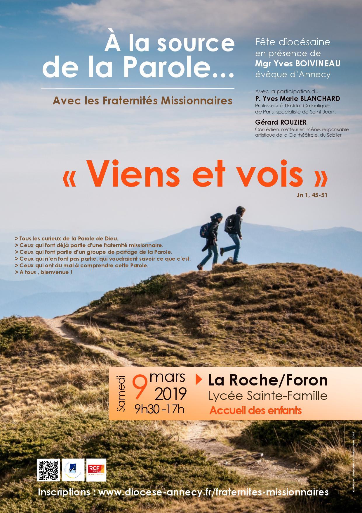Viens et vois!  Rassemblement du diocèse d'Annecy le 9 mars 2019 à La Roche-sur-Foron (74)