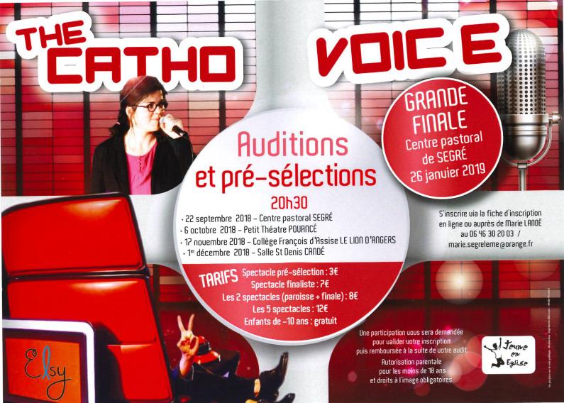 The Catho Voice: auditions, pré-sélections et grande finale le 26 janvier 2019 à Segré-en-Anjou (49)