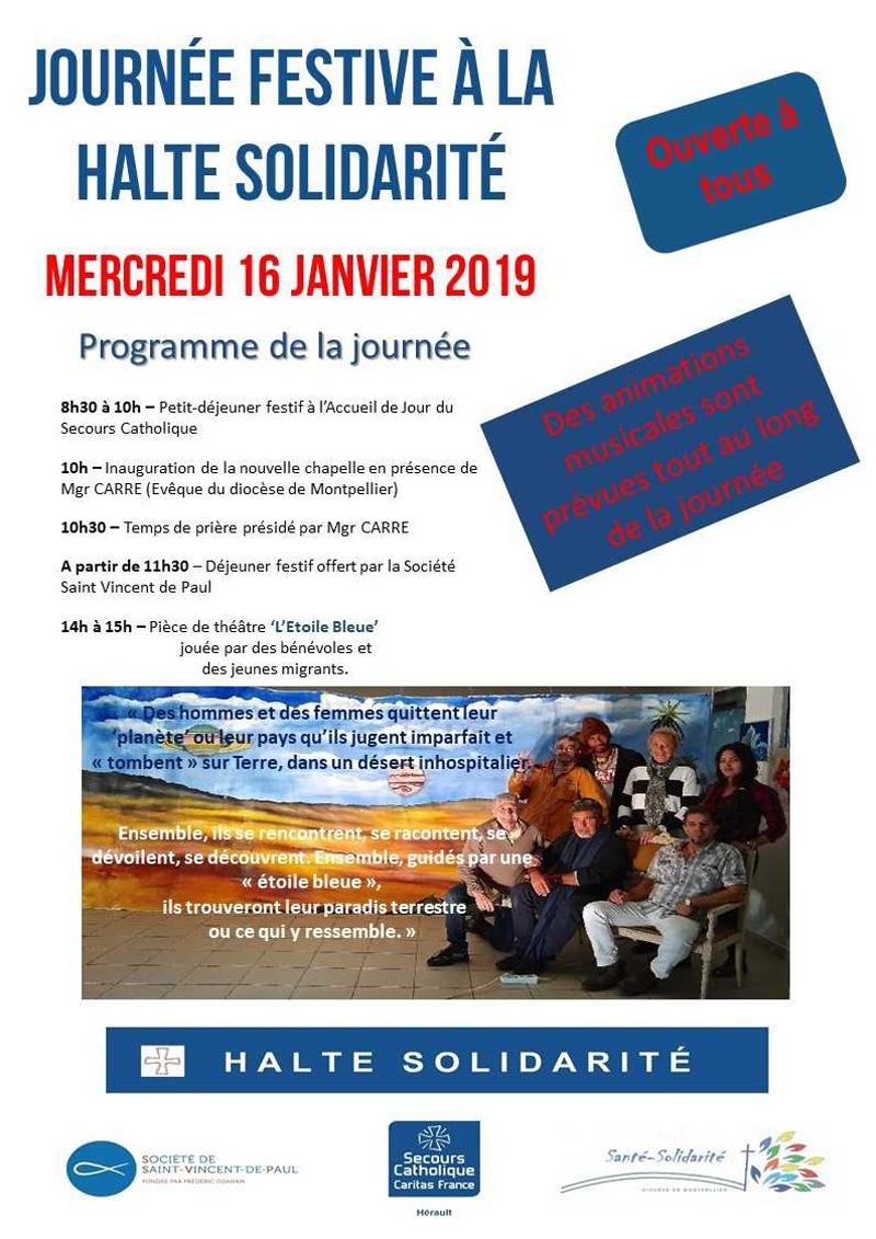 Journée festive à la Halte Solidarité le 16 janvier 2019 à Montpellier (34)