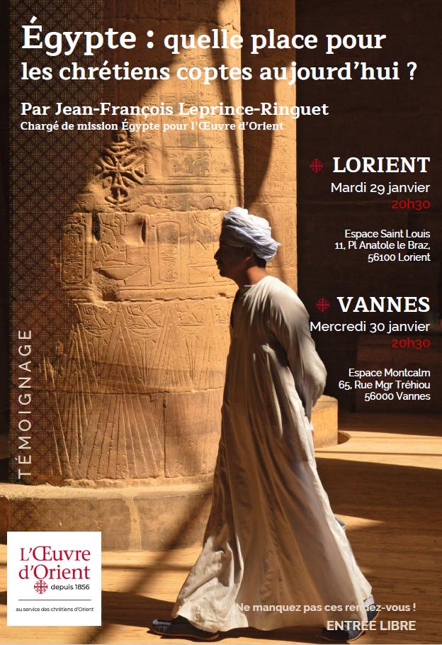 Egypte: quelle place pour les chrétiens coptes aujourd'hui? Le 29 janvier 2019 à Lorient (56) & le 30 janvier à Vannes (56)