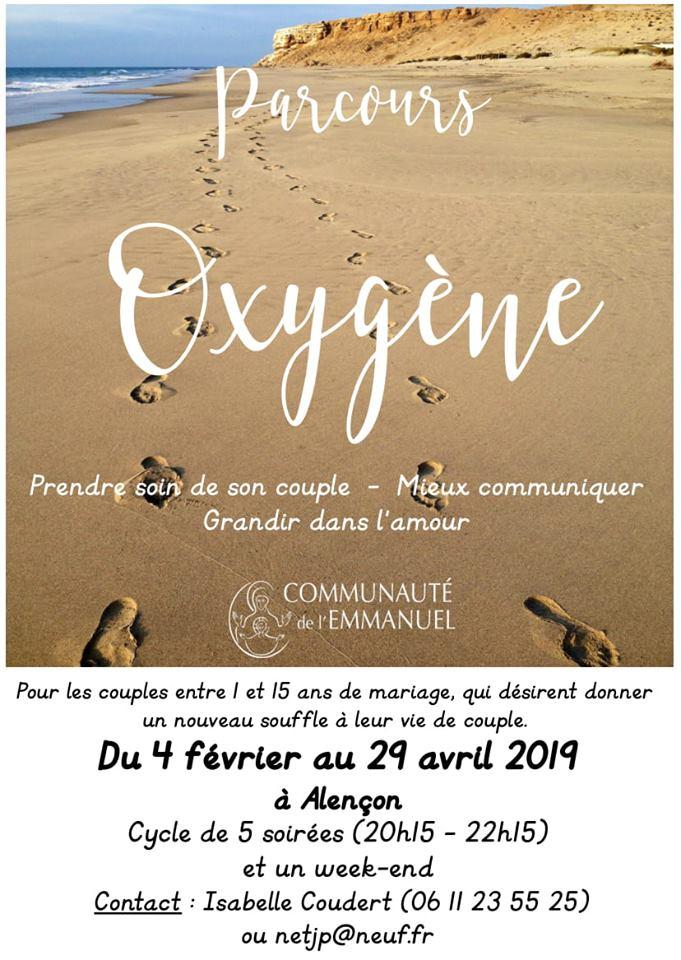 Un parcours Oxygène pour couples – 5 soirées et un weekend du 4 février au 29 avril 2019 à Alençon (61)