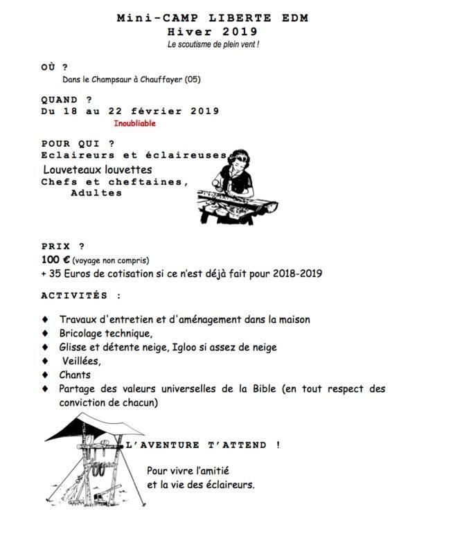 """Mini camp """"neige et service"""" du 18 au 22 février 2019 pour les 8-17 ans à Chauffayer (05)"""