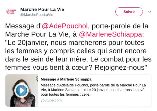 La Marche Pour La Vie adresse un message à Marlène Schiappa