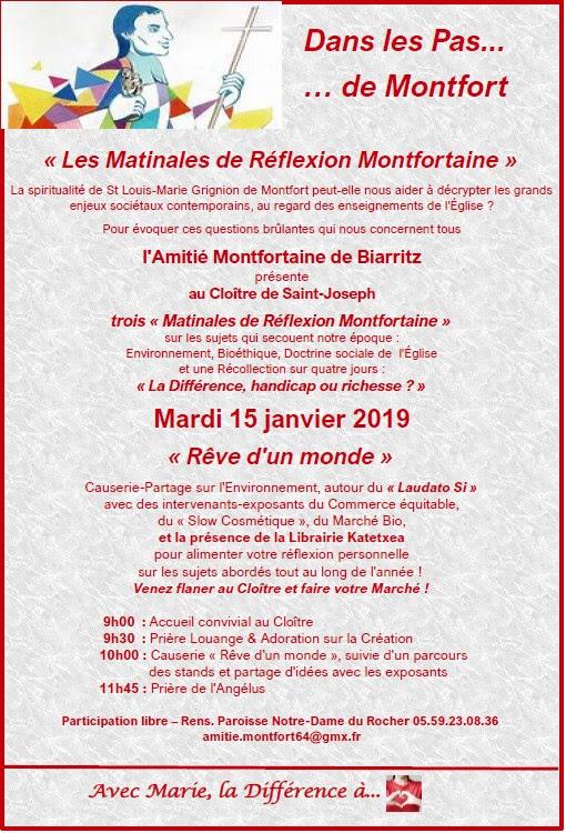 """Rencontre sur l'environnement autour de """"Laudato si'"""" avec l'Amitié Montfortaine de Biarritz (64) le 15 janvier 2019"""