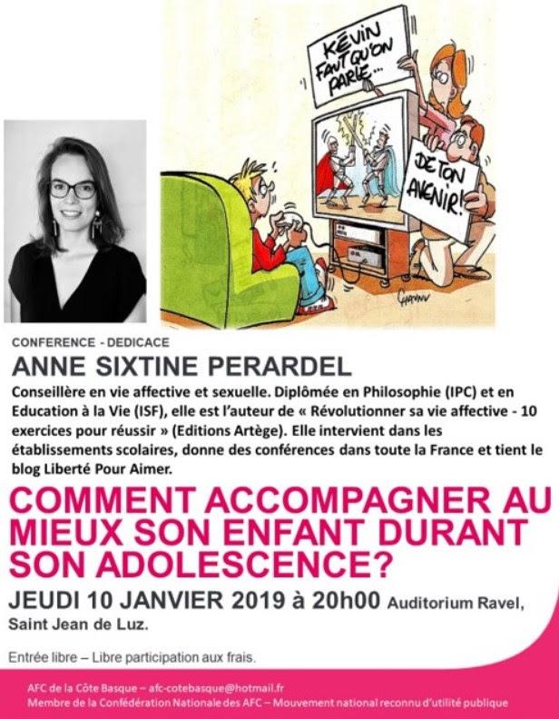 """Conférence sur """"Comment accompagner au mieux son enfant durant son adolescence?"""" le 10 janvier 2019 à Saint-Jean-de-Luz (64)"""