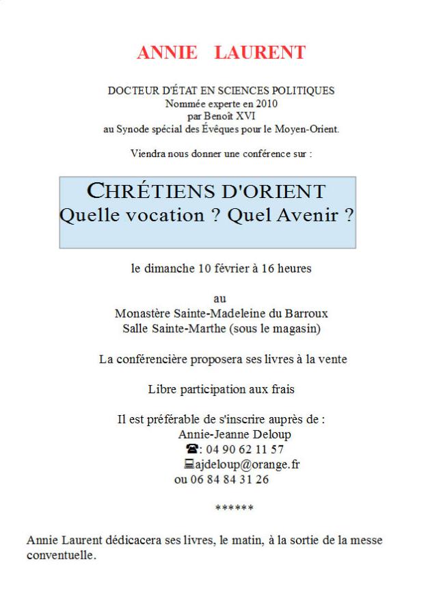 Conférence sur les Chrétiens d'Orient par Annie Laurent le 10 février 2019 au Barroux (84)