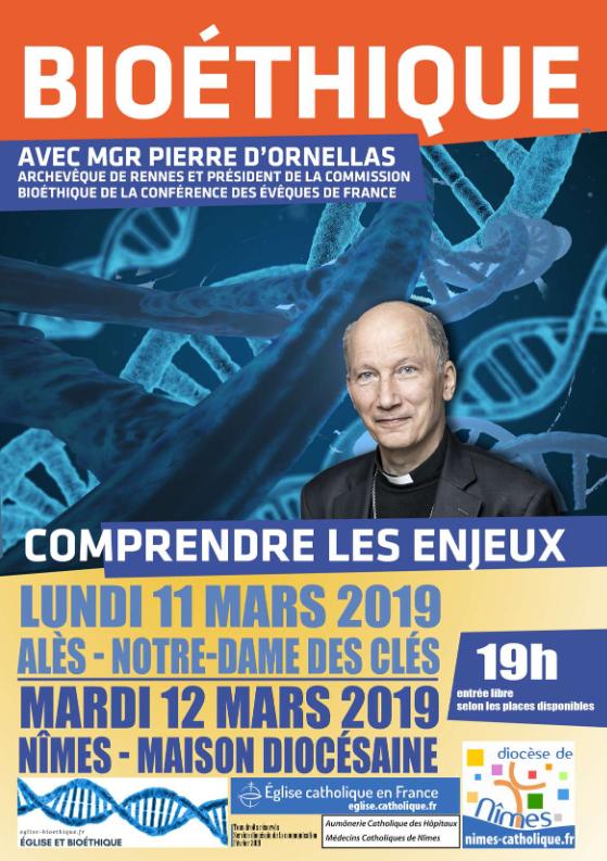 Bioéthique – Comprendre les enjeux – le 11 mars à Alès (30) & le 12 mars 2019 à Nîmes (30)