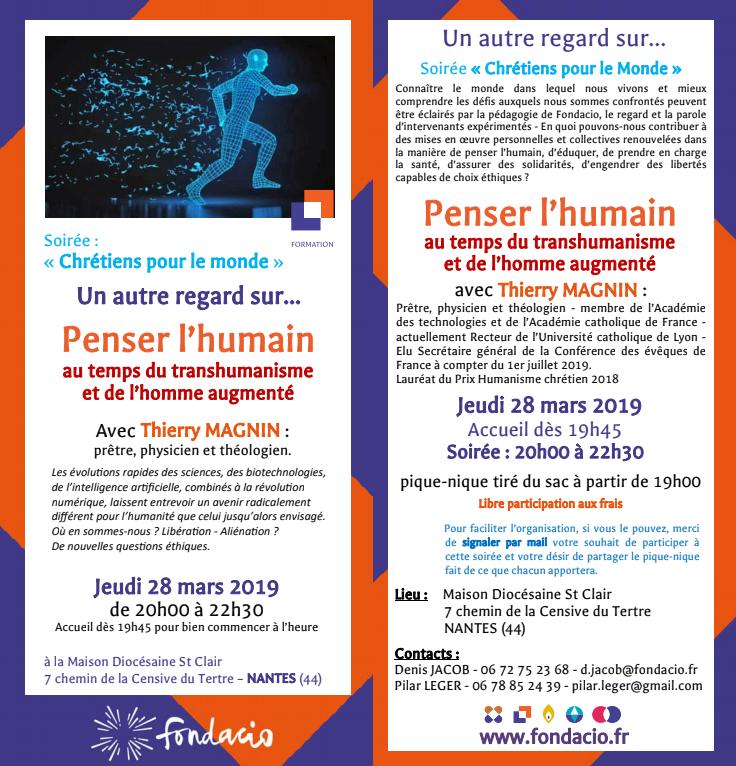 28 mars 2019: Soirée «Un autre regard sur … Penser l'humain» proposée par Fondacio à Nantes (44)
