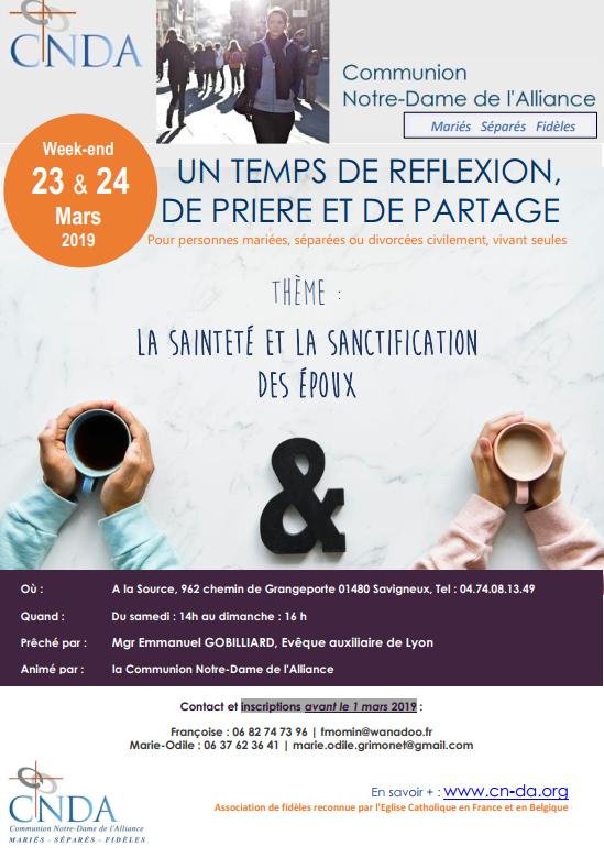 """Récollection """"Sainteté et sanctification des époux"""" les 23 & 24 mars 2019 à Savigneux (01)"""