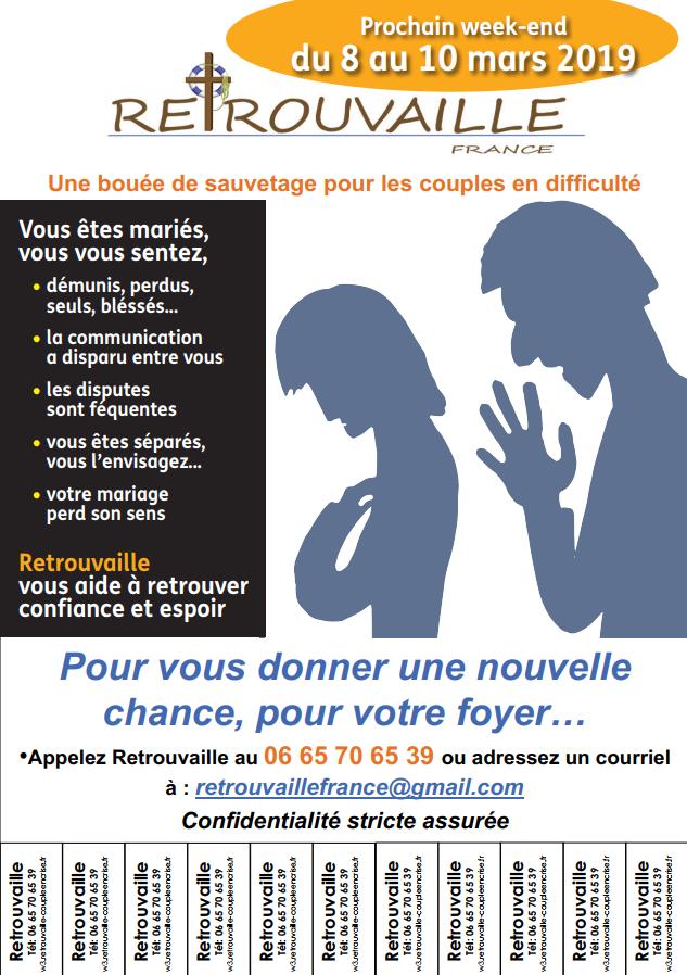 Weekend «Retrouvaille» – pour les couples en difficulté du 8 au 10 mars 2019 à Orsay (91)