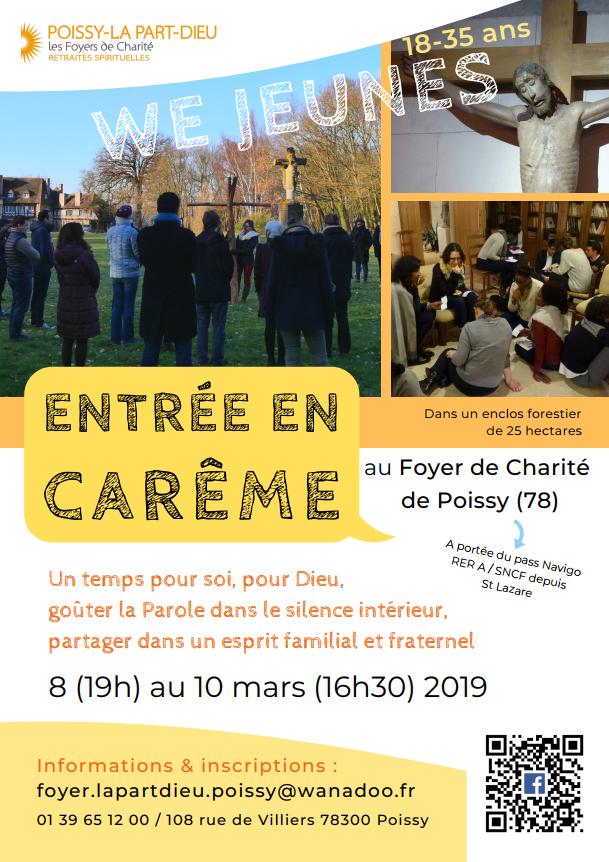 Entrée en Carême: Week-end Jeunes du 8 au 10 mars 2019 à Poissy (78)