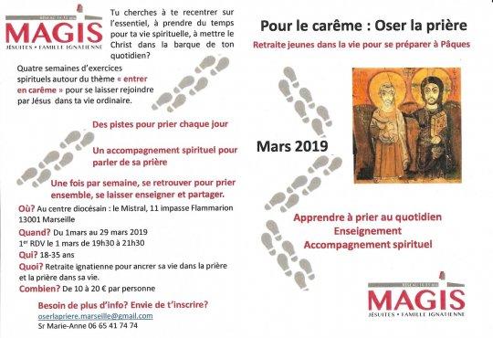 Retraite carême 2019 pour les jeunes à Marseille (13) une fois par semaine du 1er au 29 mars