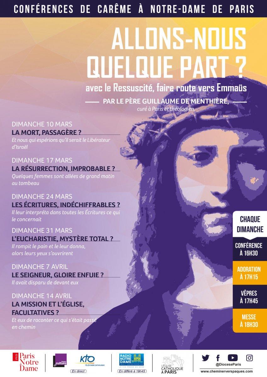 Conférences de carême à Notre-Dame de Paris – Du 10 mars au 14 avril 2019