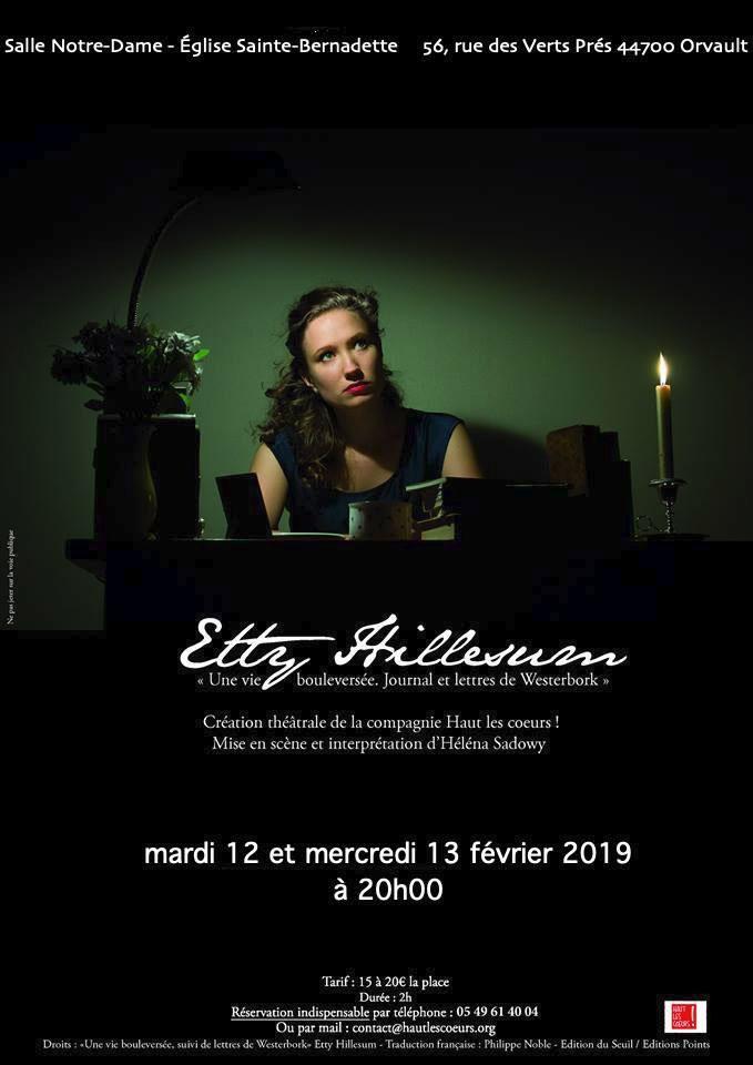 12 et 13 février 2019: Représentation «Etty Hillesum, une vie bouleversée…» à Orvault (44)