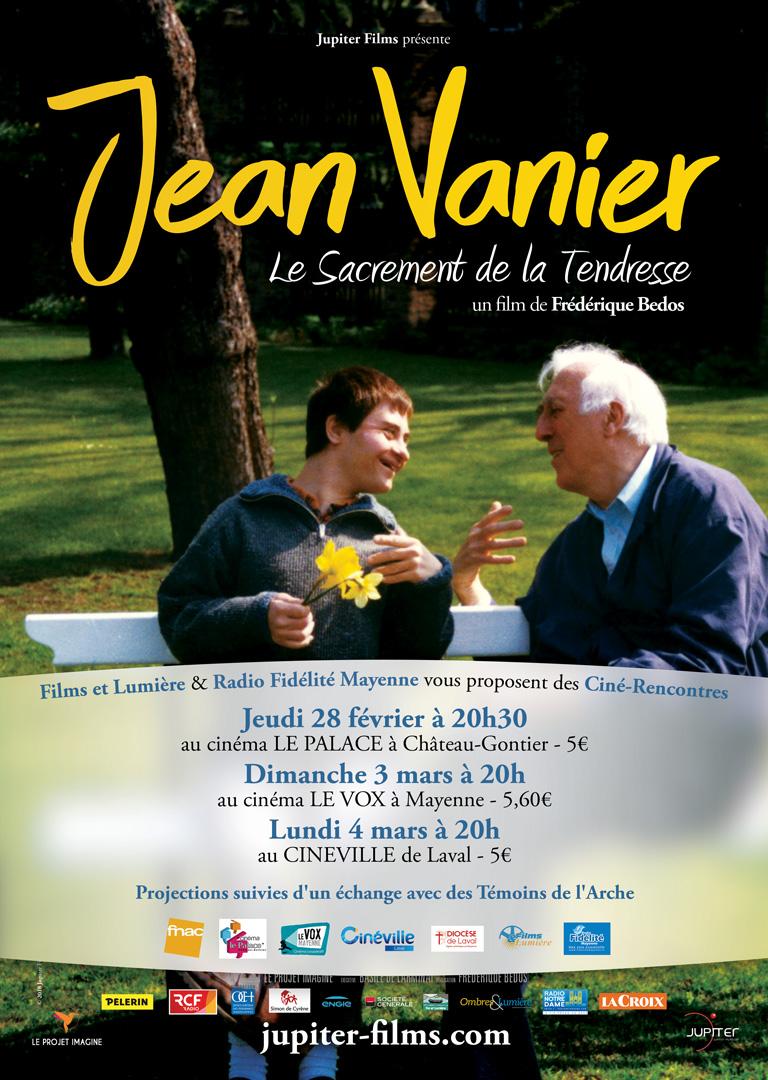 Projection du film Jean Vanier, le sacrement de la tendresse, le 28 février 2019 à Château-Gontier (53), le 3 mars à Mayenne (53) & le 4 mars à Laval (53)
