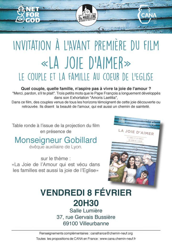 Avant-première «La joie d'aimer» le 8 février 2019 à Villeurbanne (69)