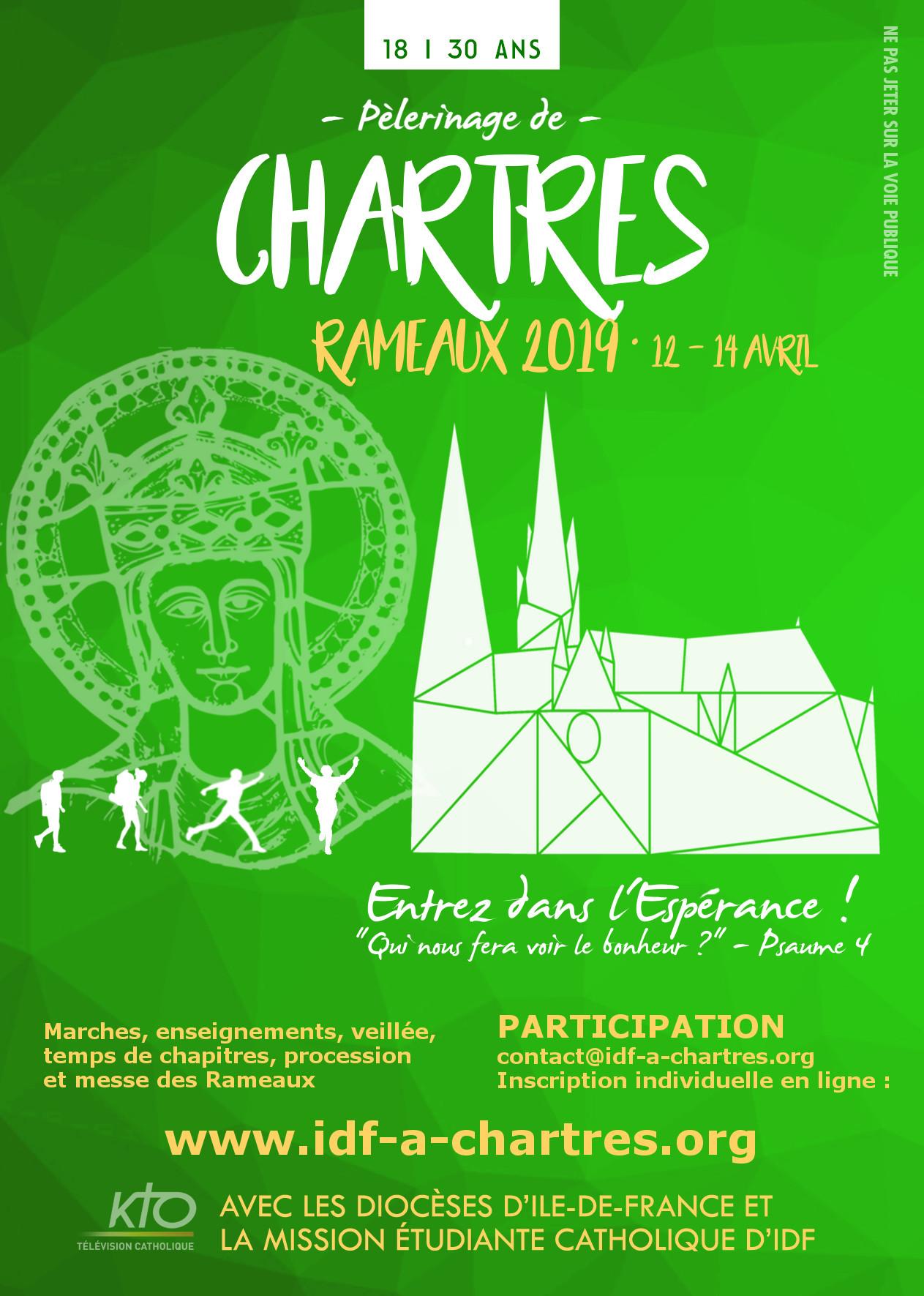 Pèlerinage de Chartres (28) des jeunes d'Île-de-France 2019 – du 12 au 14 avril