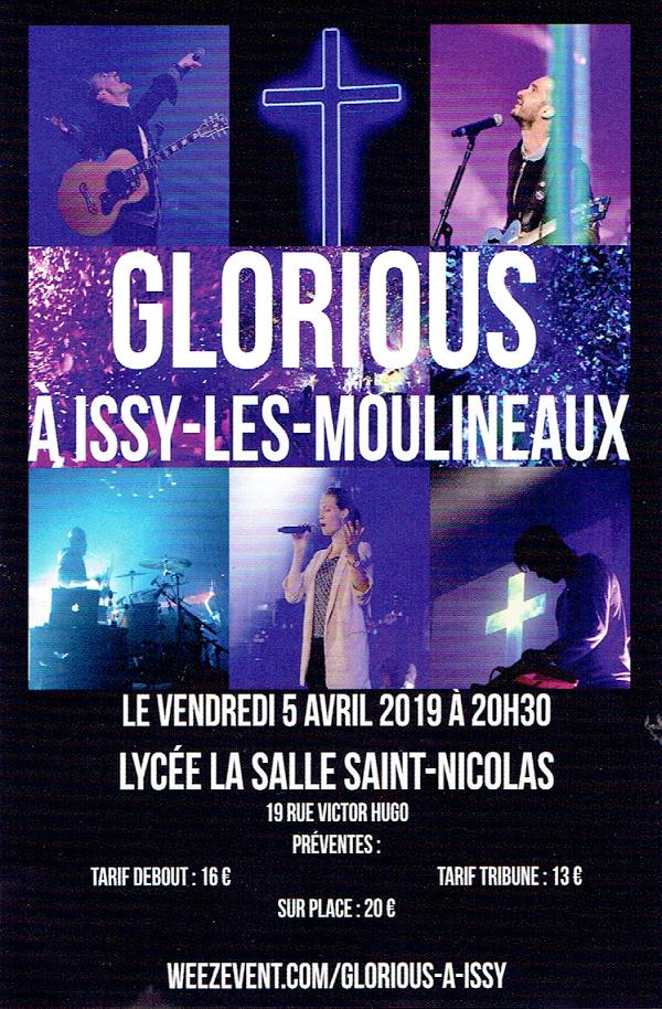 Concert de Glorious à Issy-les-Moulineaux (92) le 5 avril 2019