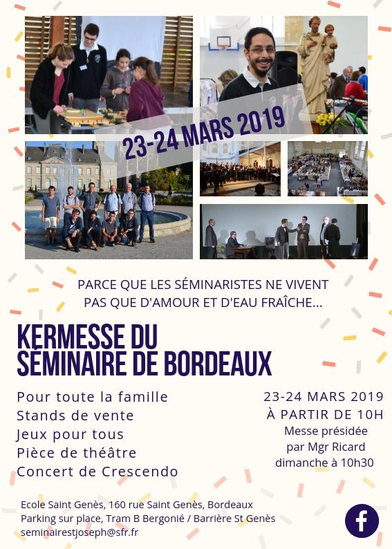 Kermesse du séminaire de Bordeaux (33) les 23 & 24 mars 2019