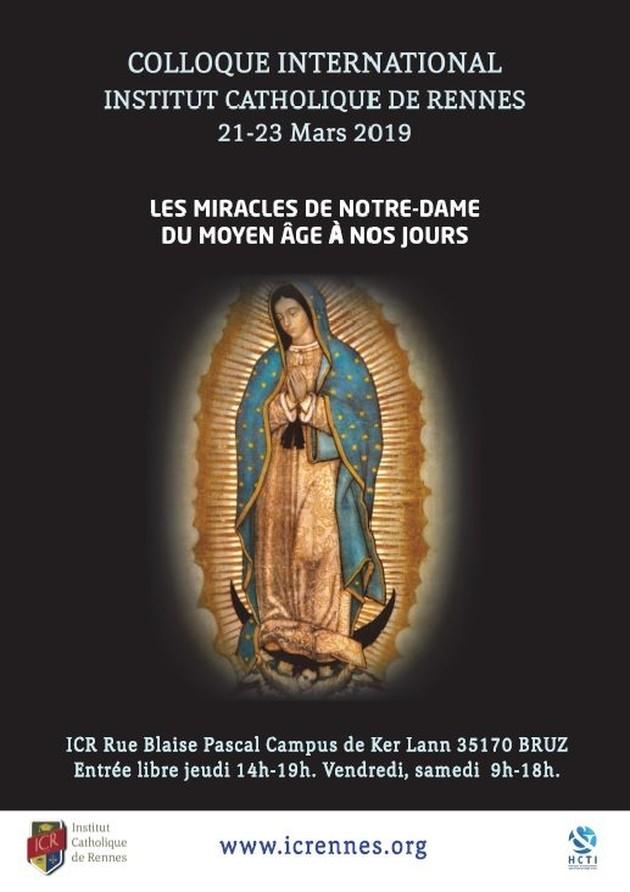 """Colloque international """"Les miracles de Notre-Dame"""" du 21 au 23 mars 2019 à Bruz (35)"""