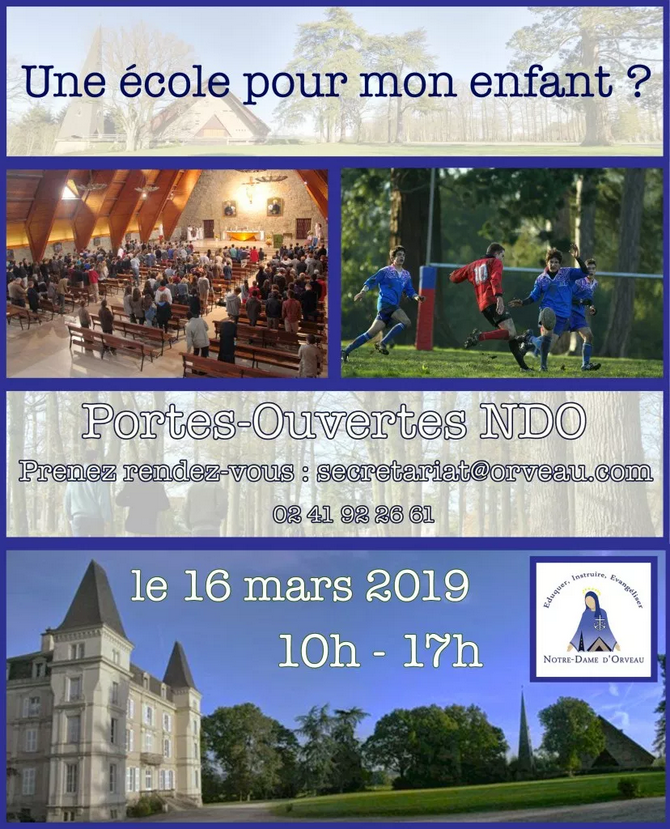 Journée portes ouvertes du collège-lycée Notre-Dame d'Orveau (49) samedi 16 mars 2019