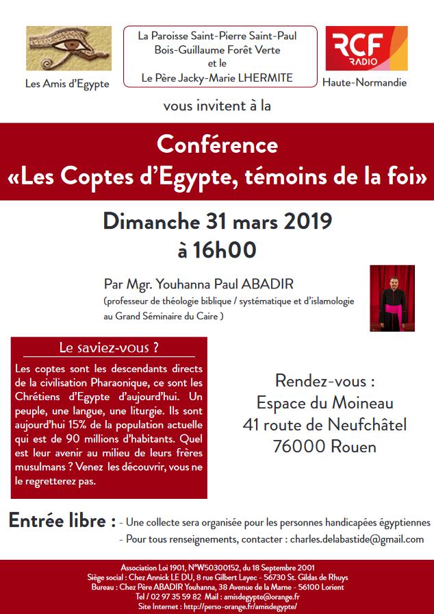 Conférence «Les Coptes d'Egypte, témoins de la foi» le 31 mars 2019 à Rouen (76)