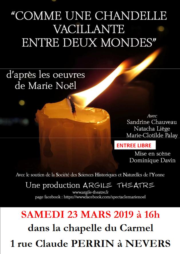 Spectacle sur Marie Noël au Carmel de Nevers (58) le 23 mars 2019