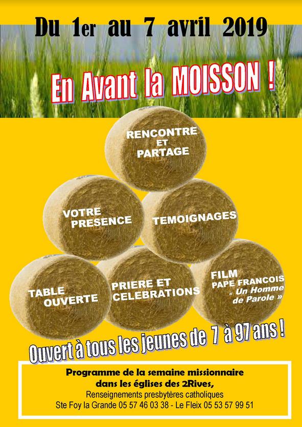 Semaine Missionnaire à Sainte Foy la Grande (33) et Le Fleix (24) du 1er au 7 avril 2019