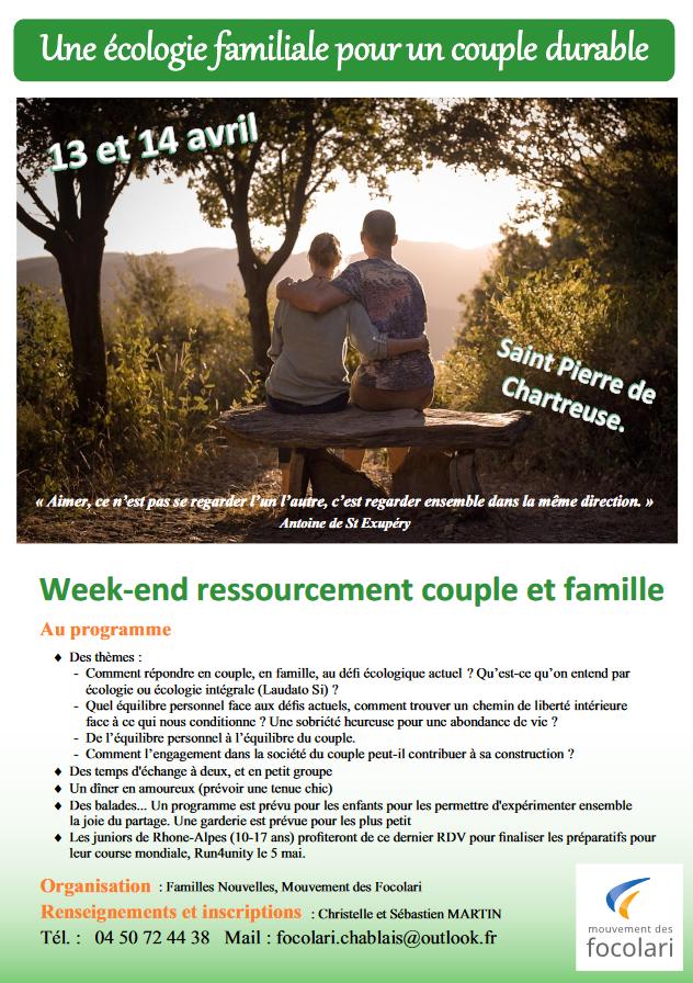 Week-end ressourcement couple et famille les 13 & 14 avril 2019 à Saint-Pierre de Chartreuse (38)