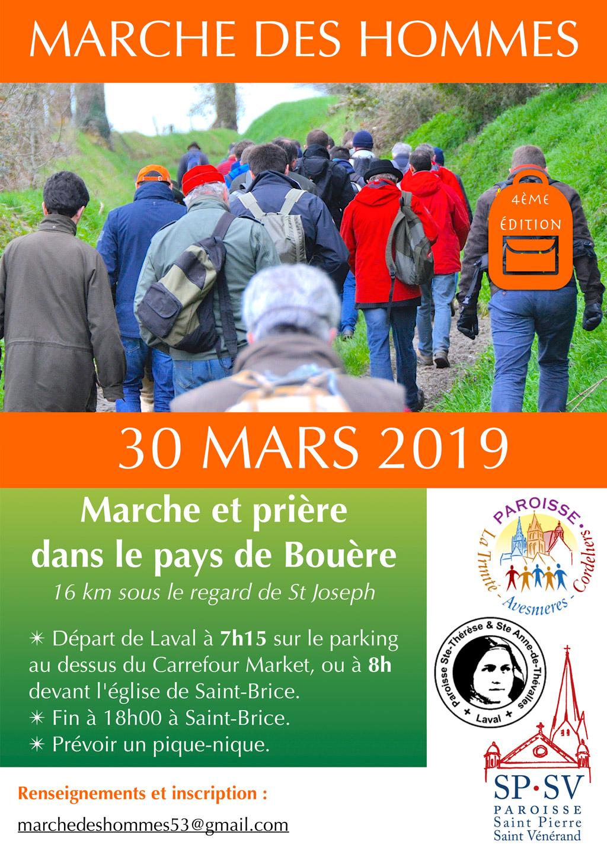 4e pèlerinage des hommes le 30 mars 2019 de Laval (53) à Saint-Brice (53)