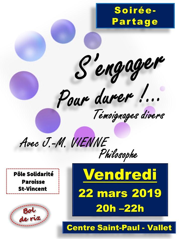 """22 mars 2019: Soirée débat """"S'engager pour durer"""" à Vallet (44)"""
