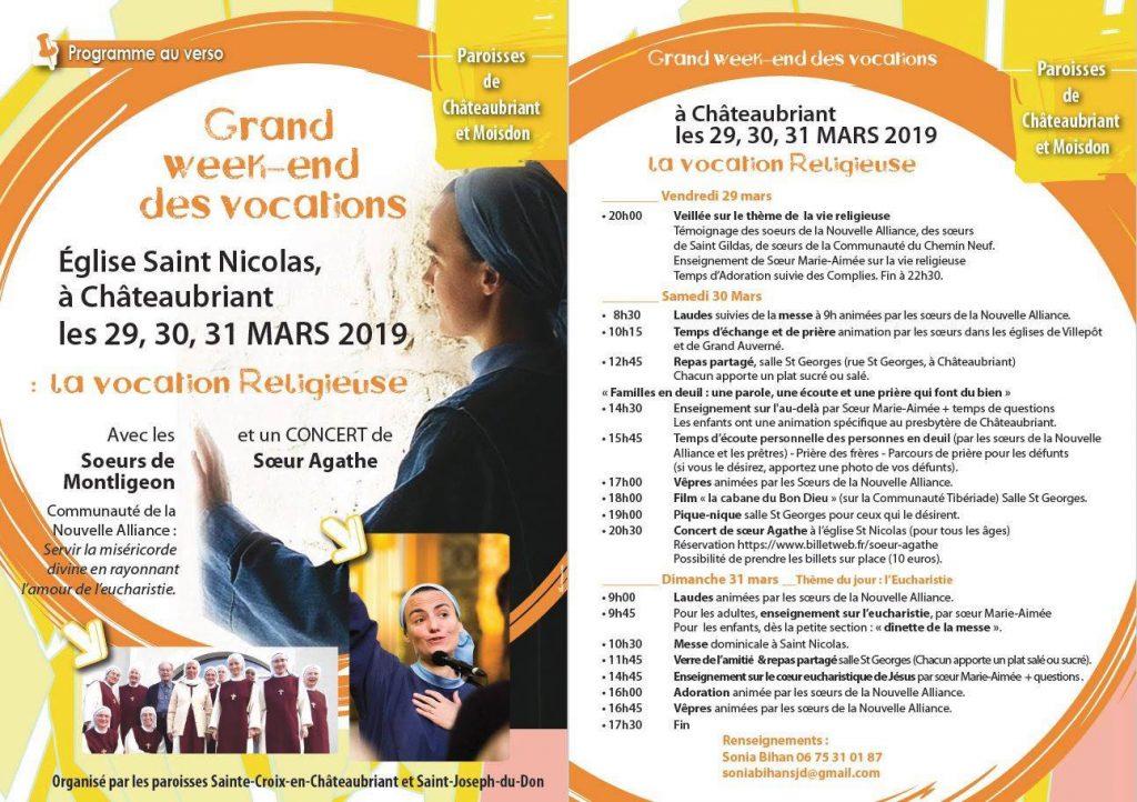 29 au 31 mars 2019: Grand Week-end des vocations à Châteaubriant (44)