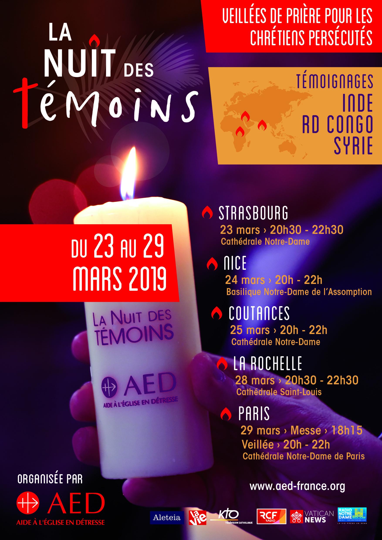 """""""La Nuit des Témoins"""" à Notre-Dame de Paris le 29 mars 2019"""