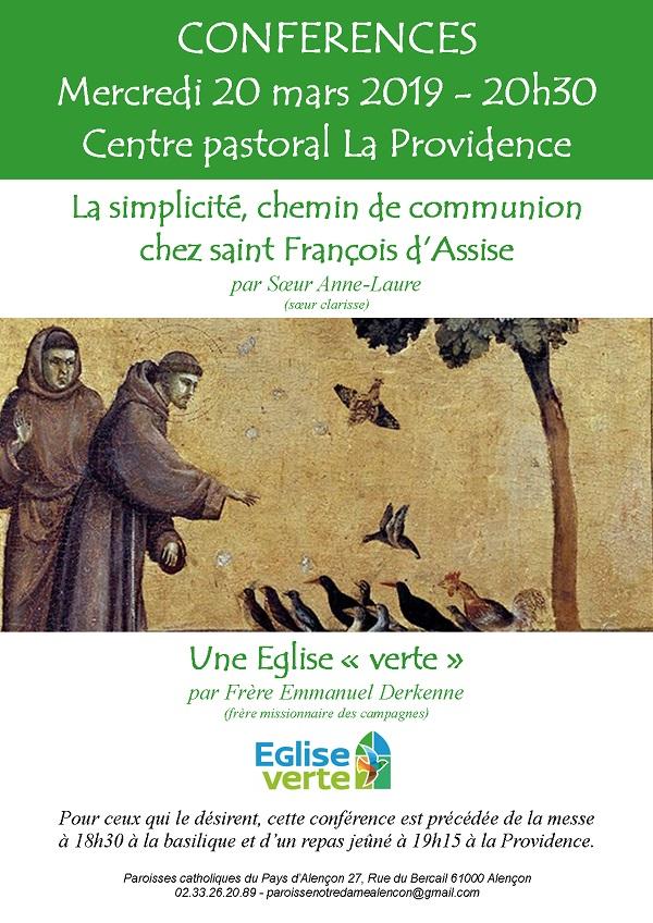 Soirée de carême – La simplicité – Eglise verte – le 20 mars 2019 à Alençon (61)
