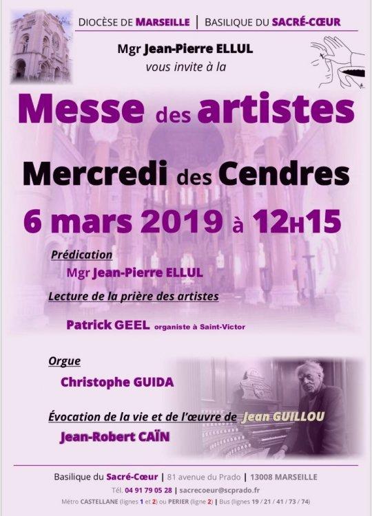 Messe des cendres, messe des artistes à la basilique du Sacré-Coeur à Marseille (13) le 6 mars 2019