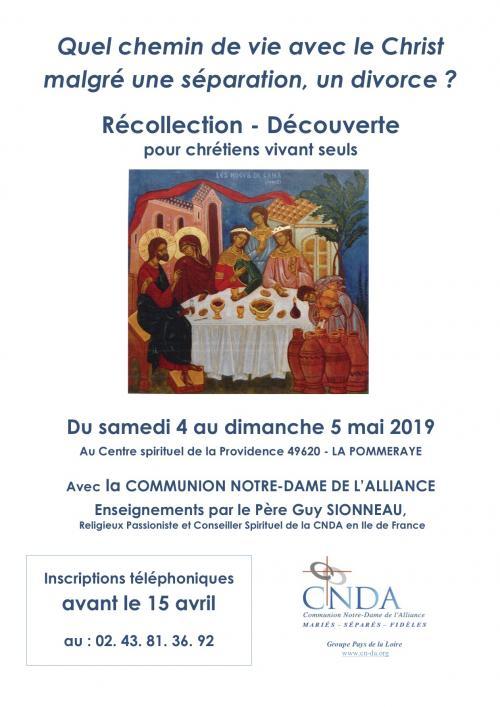 Quel chemin de vie avec le Christ malgré une séparation, un divorce? 4 & 5 mai 2019 à la Pommeraye (49)