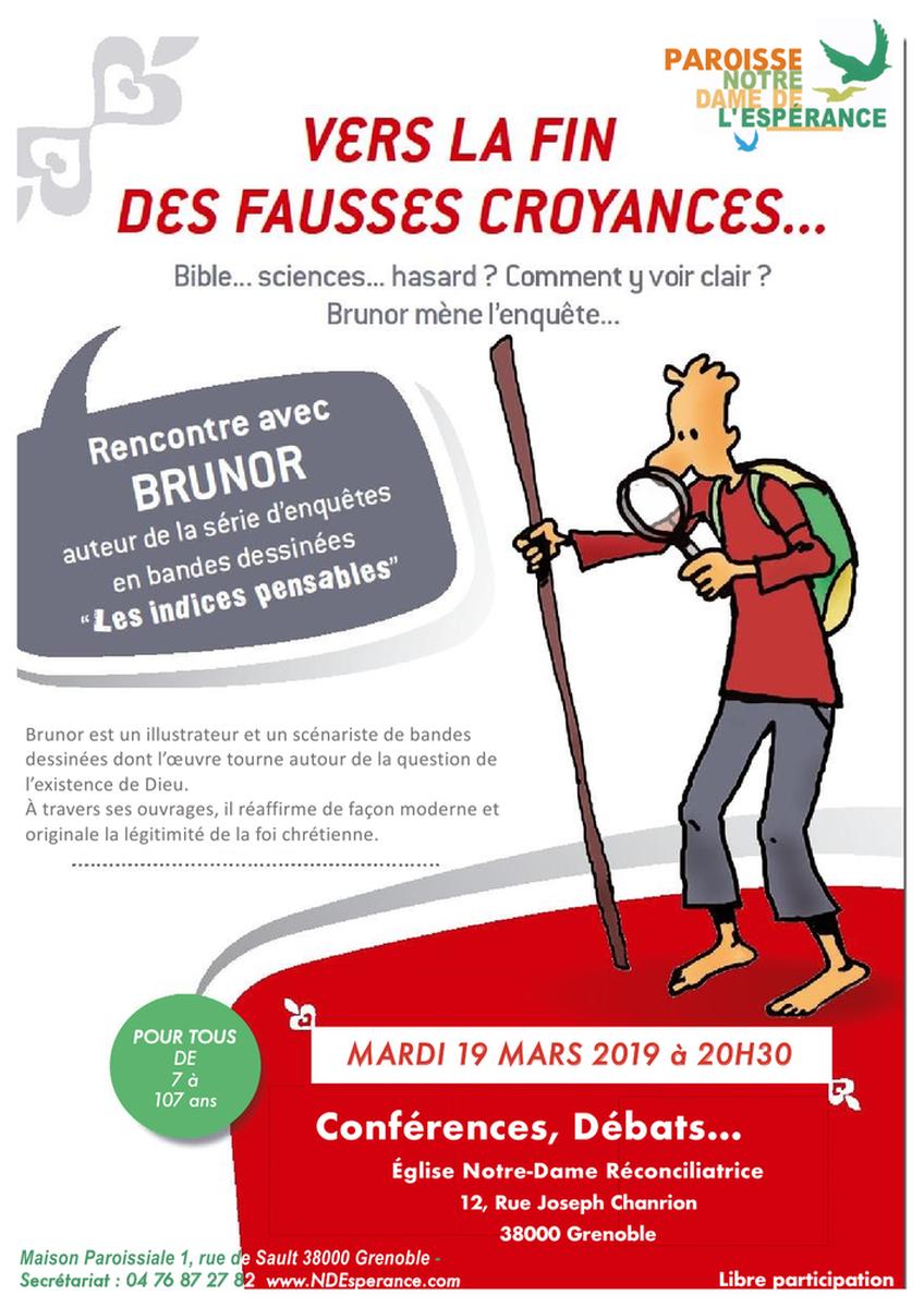 """""""Vers la fin des fausses croyances?"""" avec Brunor le 19 mars 2019 à Grenoble (38)"""