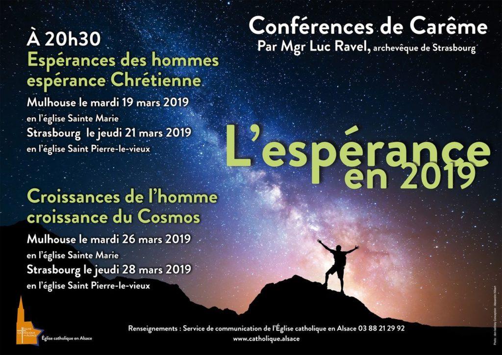 Conférences de Carême de Mgr Ravel les 19, 21, 26 & 28 mars 2019 à Mulhouse (68) & Strasbourg (67)