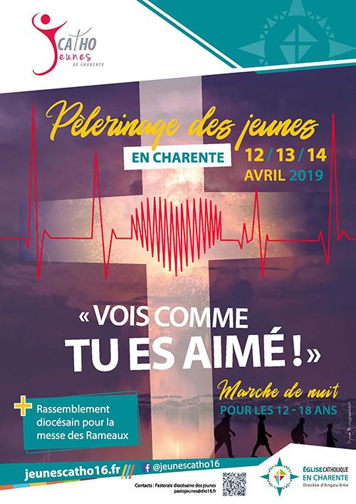 Les jeunes de Charente en pélé pour le week-end des Rameaux entre La Rochefoucauld (16) et Montbron (16) du 12 au 14 avril 2019