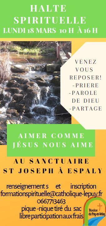 «Aimer comme Jésus aime» – Halte spirituelle le 18 mars 2019 au Puy-en-Velay (43)