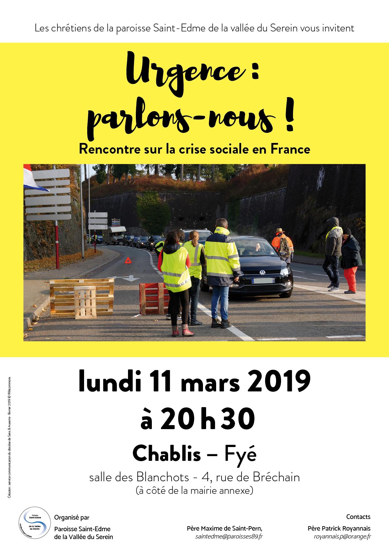 Urgence: parlons-nous! Rencontre sur la crise sociale le 11 mars 2019 à Chablis-Fyé (72)