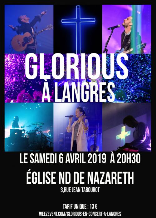 Concert du groupe Glorious à Langres (52) le 6 avril 2019