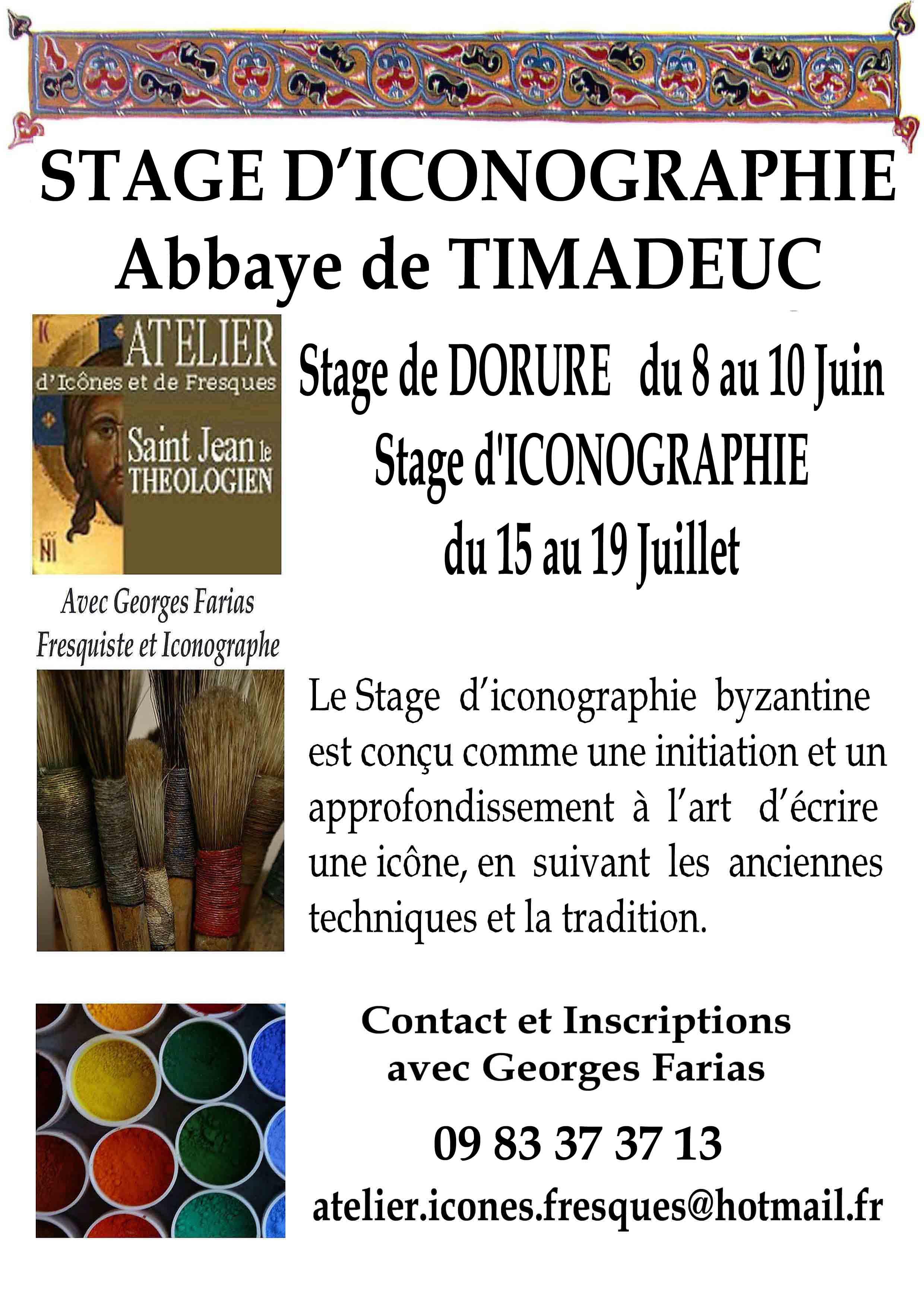 Stage d'Iconographie (du 15 au 19 juillet 2019) et Dorure (du 8 au 10 juin 2019) à L'Abbaye de Timadeuc (56)