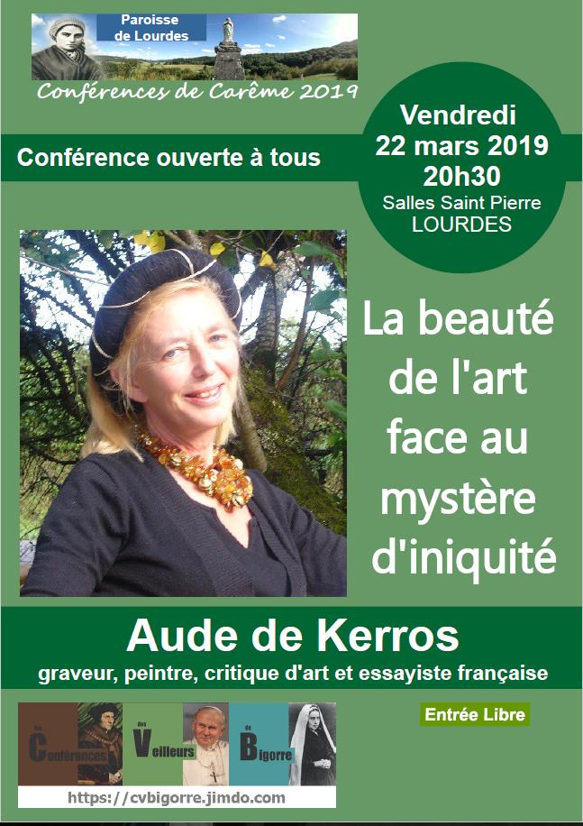 Conférence d'Aude de Kerros sur la beauté de l'art – le 22 mars 2019 à Lourdes (65)
