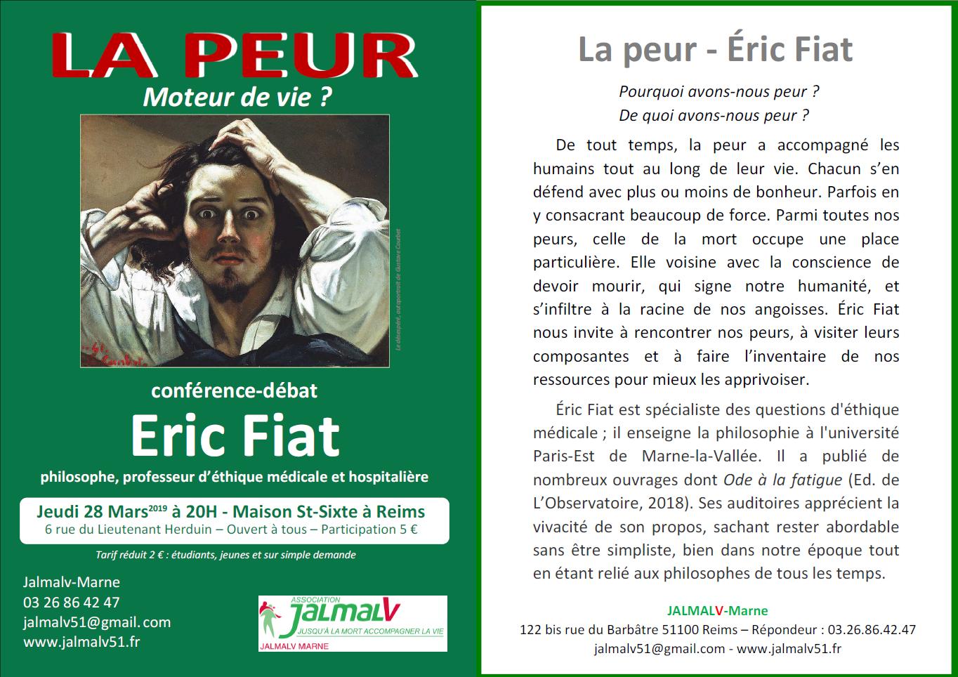 La peur, moteur de vie? Conférence le 28 mars 2019 à Reims (51)