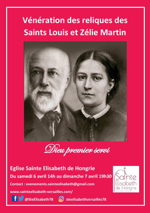 Vénération des reliques de Louis et Zélie Martin du 6 au 7 avril 2019 à Versailles (78)