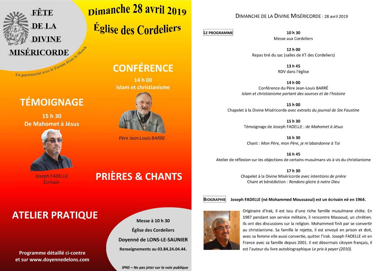 Fête diocésaine de la Divine Miséricorde le 28 avril 2019 à Lons-le-Saunier (39)
