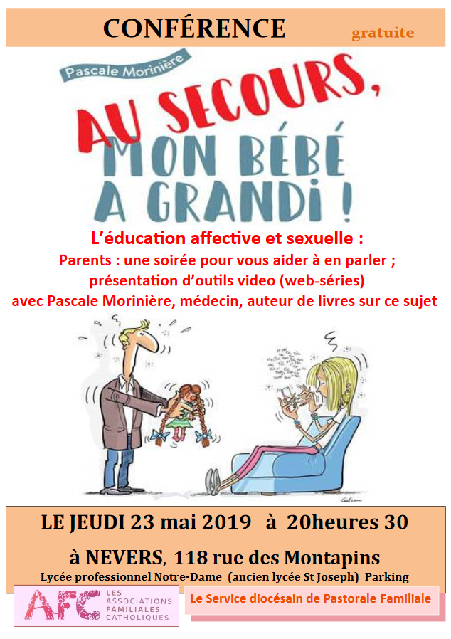 """Conférence: """"Au secours, mon bébé a grandi"""" avec Pascale Morinière – le 23 mai 2019 à Nevers (58)"""